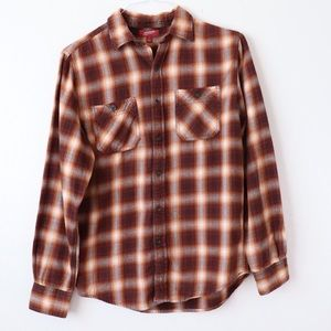 Arizona Jeans Rusty Plaid Flannel Button Up Shirt